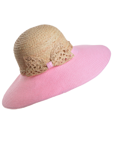 edf7788e Two Tone Bow Tie Floppy Straw Hat