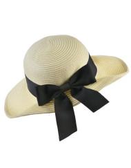 Bow Side Straw Floppy Hat