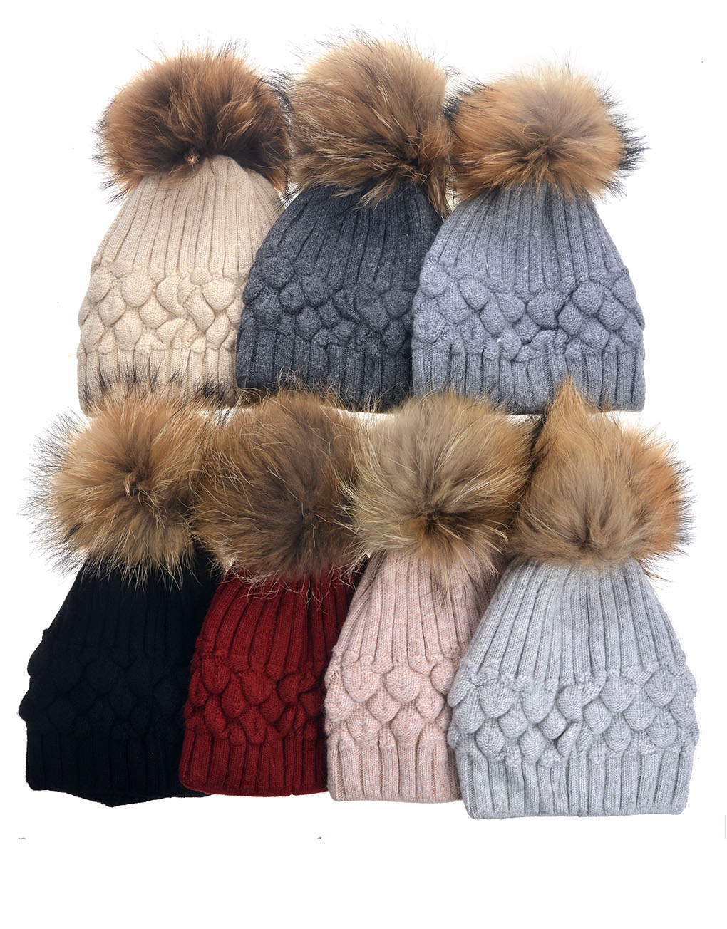 1f11bb2b7a1 Real Fur Pompom Beanie Hat Wholesale Price   Discount
