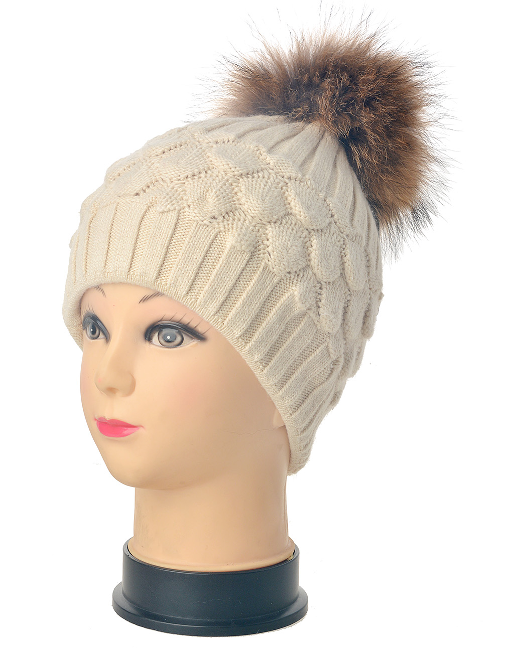 6f2bcde208469 Real Fur Pompom Beanie Hat Wholesale Price & Discount