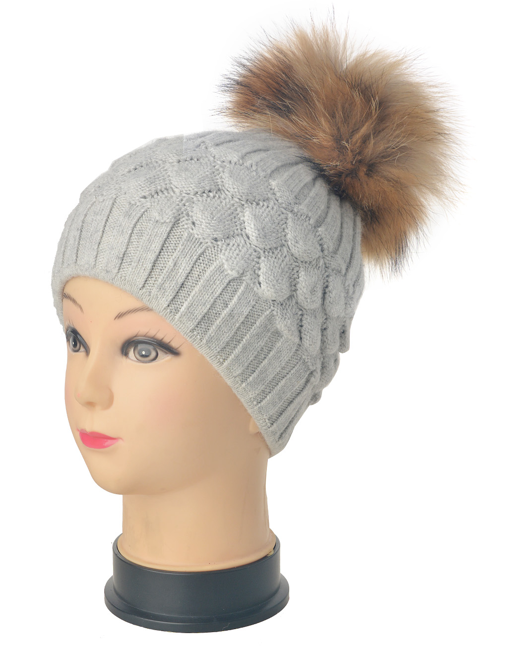 Real Fur Pompom Beanie Hat Wholesale Price   Discount f82745f3b4c