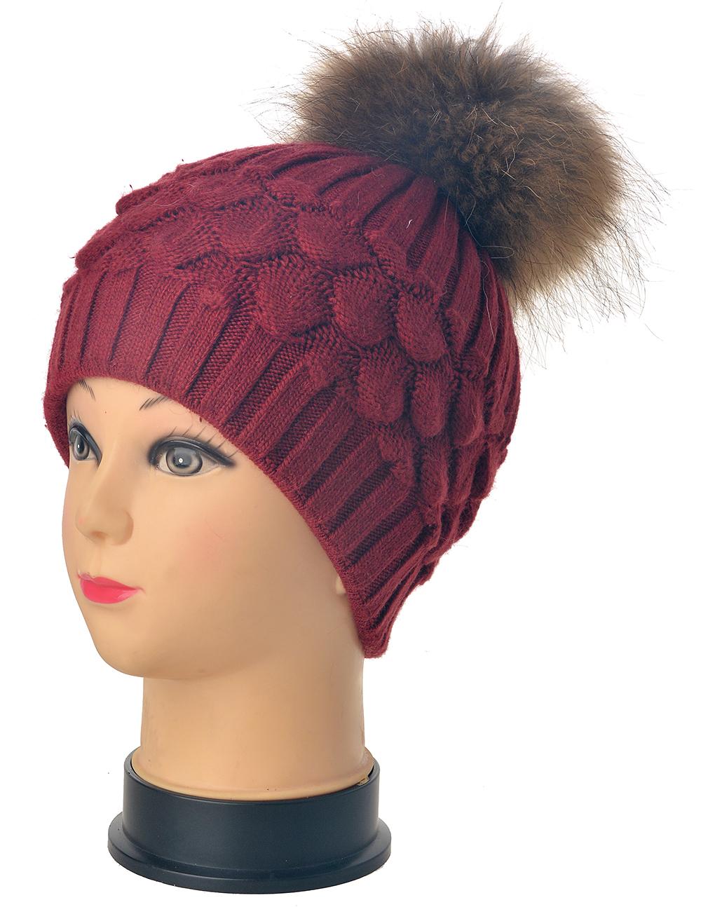 dc1d2b57b3396 Real Fur Pompom Beanie Hat Wholesale Price   Discount