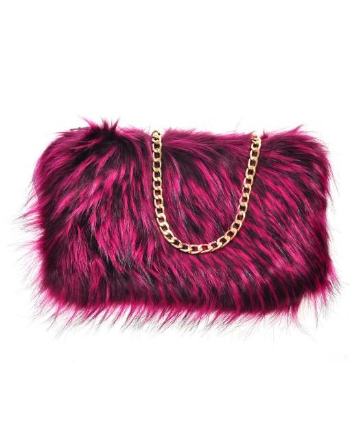 Faux Raccoon Fur Bag