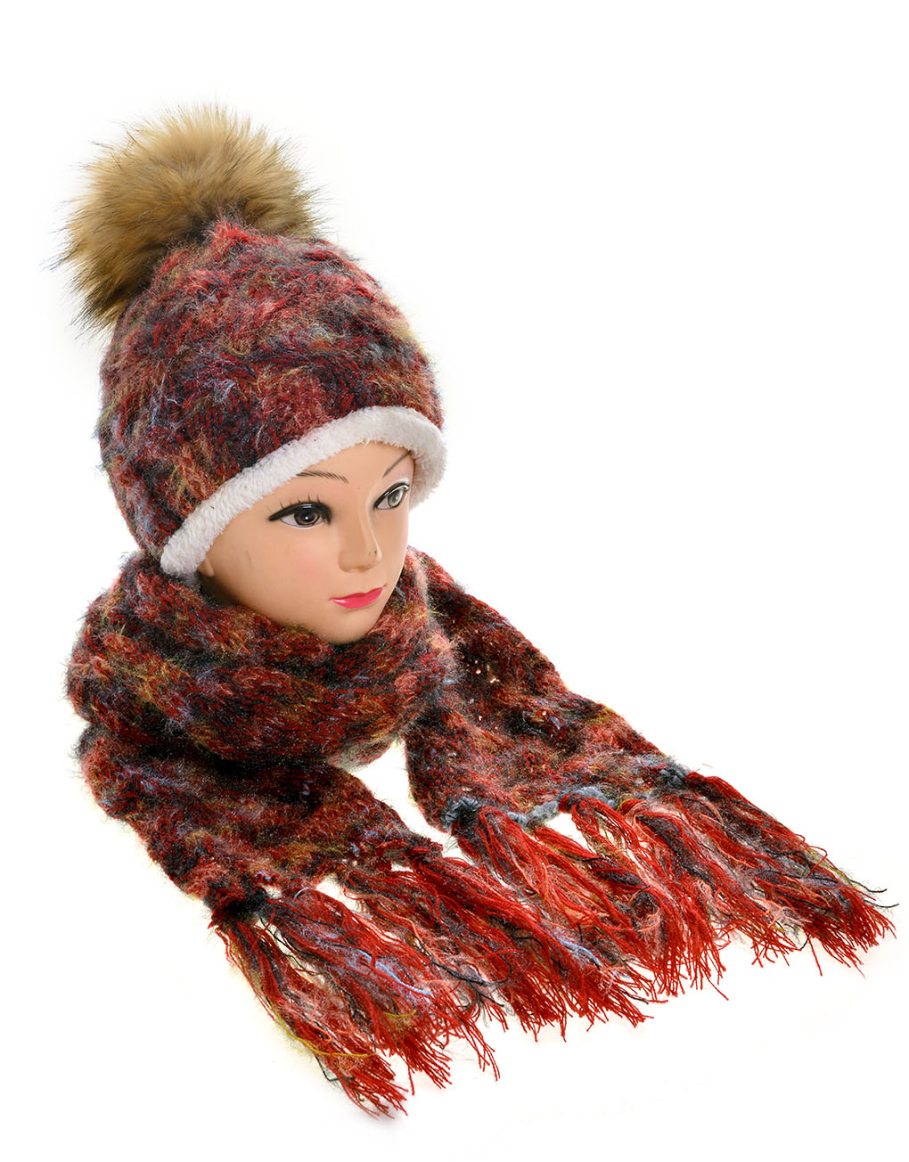 faux fur pompom hat scarf set wholesale price