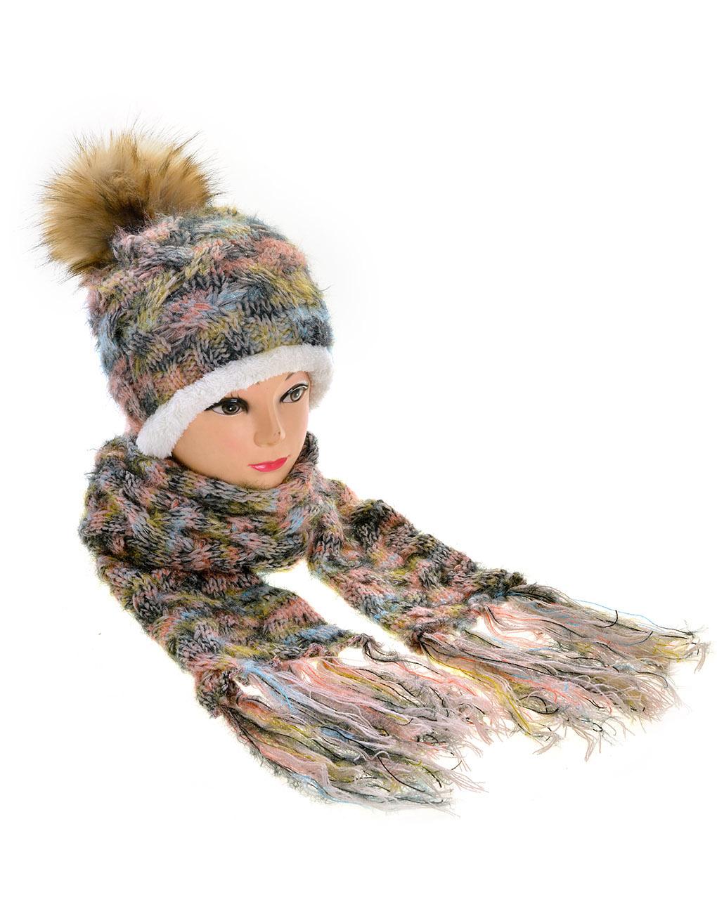 e6ac4147f771f Faux Fur Pompom Hat Scarf Set Wholesale Price