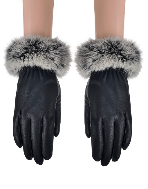 Fluffy Soft Fur Leather Glove Wholesale Price