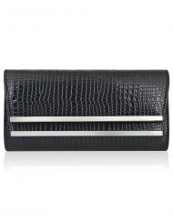 Croc Effect Double Metal Front Clutch Bag