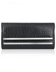 4330e4614486 Croc Effect Double Metal Front Clutch Bag