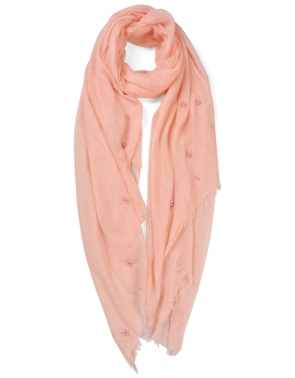 delicate embroidered pearls plain cotton scarf luxe