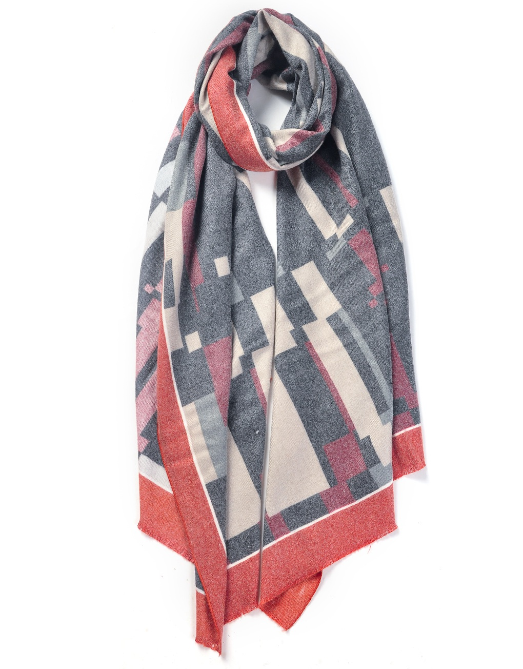 cool geometric maze patterned printed scarf