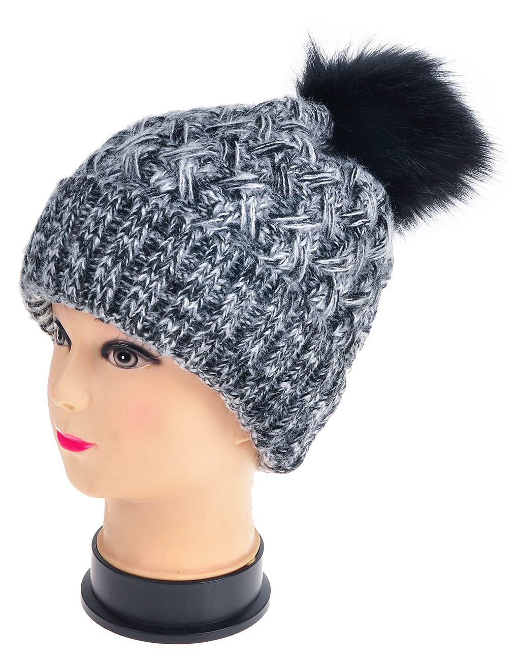 c153b2f1d778d Twisted Twill Pompom Beanie Hats - Luxe Wholesale