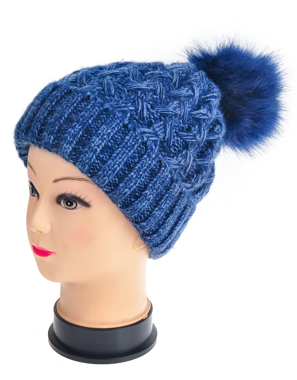 00e223c33651d Twisted Twill Pompom Beanie Hats - Luxe Wholesale
