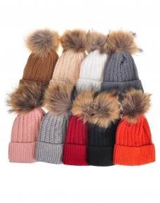 724a733649f08 Slim Pom pom beanie Hats - Luxe Wholesale