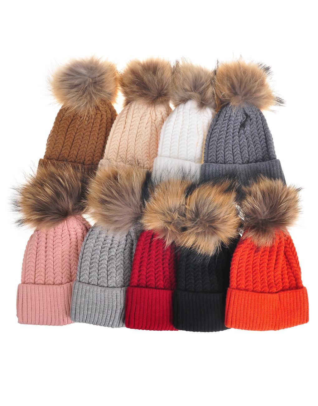 c9246698e36db2 Slim Pom pom beanie Hats - Luxe Wholesale