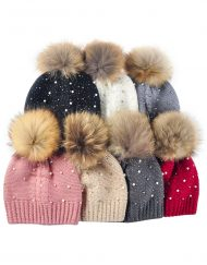 Pearl And Diamonds Knitted Pompom Hats