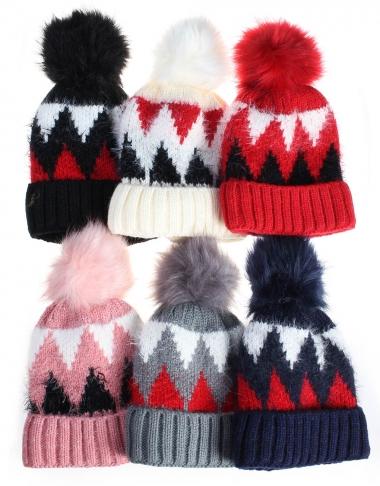 8d0d94f097575b Beanie Hats · Tricolour Zigzag Pompom Beanie Hats