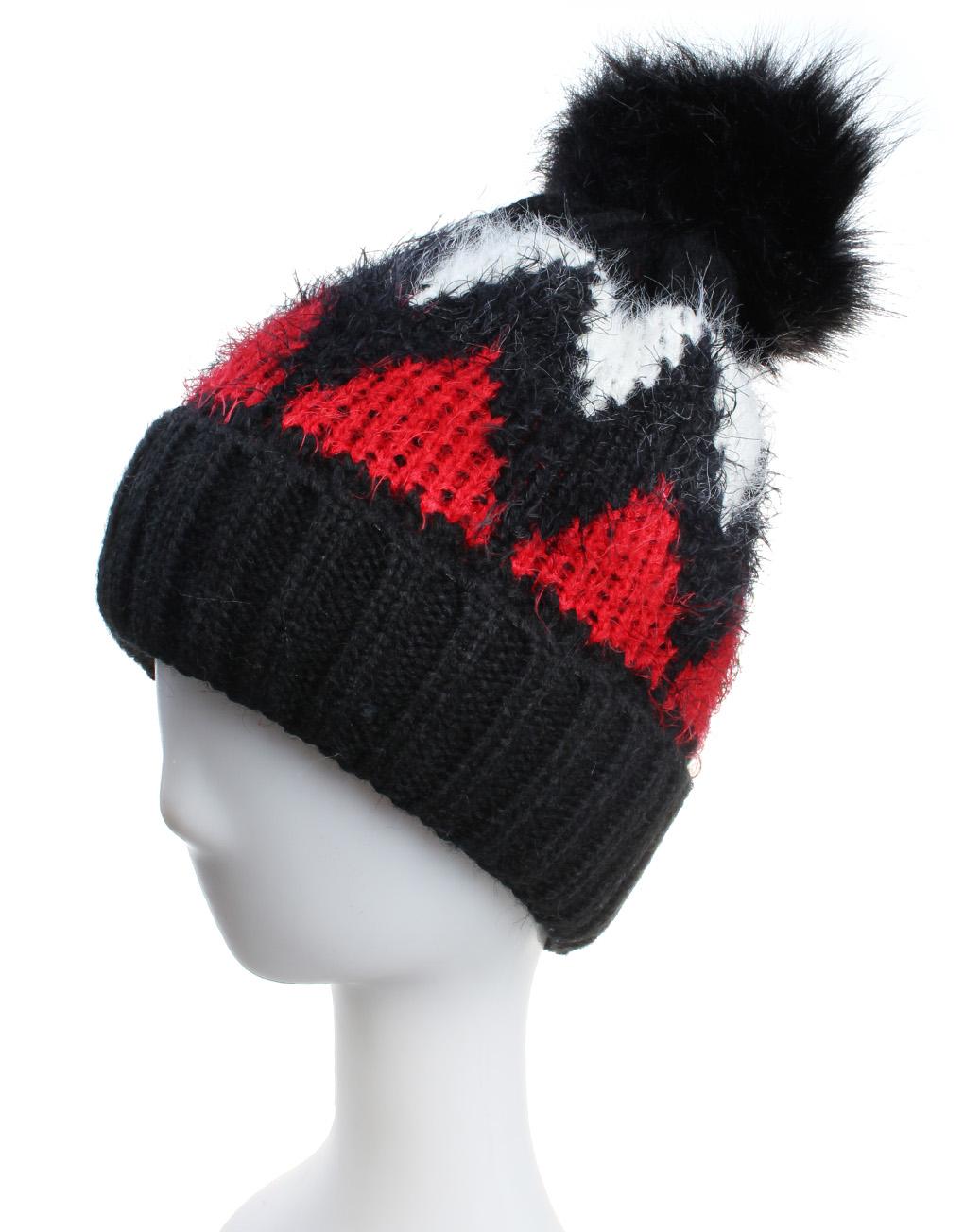 15b7c22317850 Tricolour Zigzag Pompom Beanie Hats - Luxe Wholesale