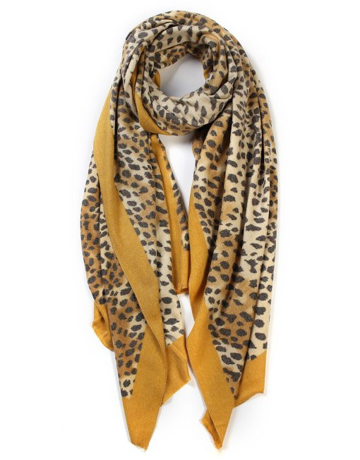 Small Leopard Print Cashmere Scarf