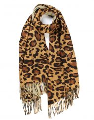 One Sided Leopard Print Scarf with Tassels