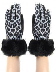 Leopard Print Fur Trim Glove