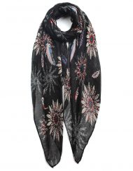 Feather Flower Print Scarf
