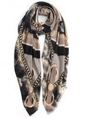 Gold Chain Colour Block Print Scarf