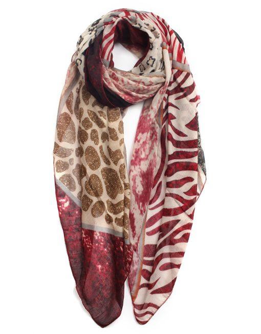Zebra Strip Leopard Print Scarf