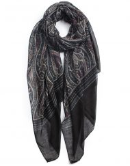 Paisley Plain Bottom Print Scarf