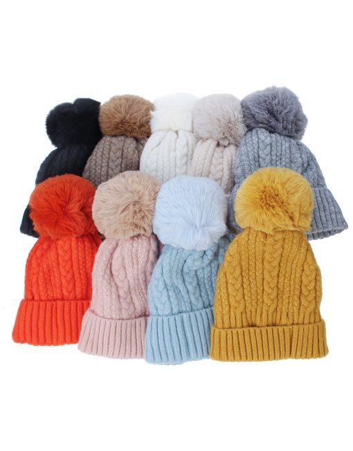 Soft Stitch Knitted Pompom Hat