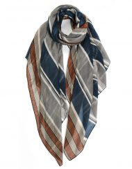 Triple Colour Strip Print Scarf